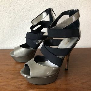Bebe Strappy Peep Toe Platform Heels